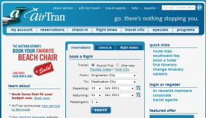 Official website www.airtran.com